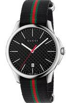 GUCCI Quartz G-Timeless Black Dial Men's Watch Nylon Belt YA126321 - $595.00
