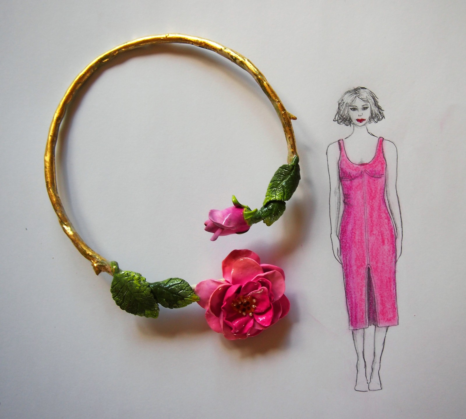 Handmade, Wild Rose Feature Necklace in luscious pink with 22ct gold accents.