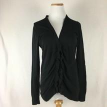 LOFT Women's Classic Black Ruffled Longsleeve Cardigan Sweater Size Small  - $17.40