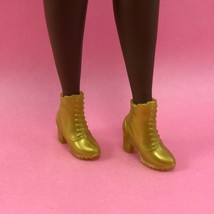 Barbie Gold Ankle Boots Bmr 1959 Footwear Heel Shoes Accessory For Doll - $5.00