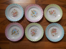 "Old Vintage Set 6 6"" Snack Plates Flowers Floral Blue Pink Green China B... - $99.99"
