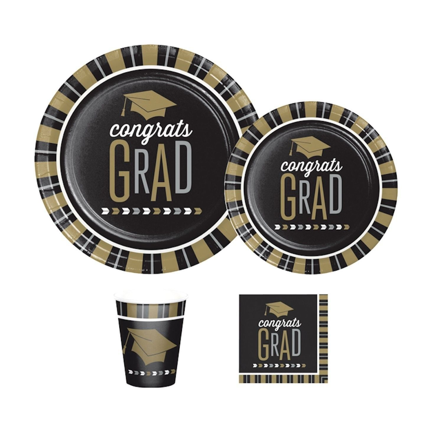 Glitzy Graduation Party Supplies, Includes 8 Luncheon Plates, 8 Dinner Plates...