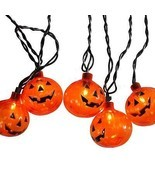 Sienna Set of 10 Transparent Orange Pumpkin Halloween Lights - Black Wire - £11.29 GBP