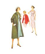 50s Vtg Simplicity Sewing Pattern 1505 Misses Sheath Dress Clutch Swing Coat 12 - $12.95