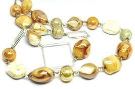 NECKLACE ORANGE WHITE ROUNDED DROP SPHERE, EXAGON MURANO GLASS SQUARE, 80cm LONG image 2