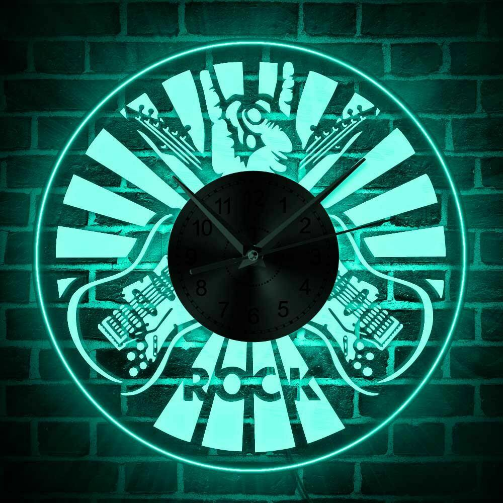 "Primary image for 12"" Double Rock Guitar Acrylic LED Wall Clock Corded Guitarist Gift Home Decor"