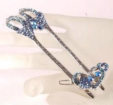 Ladies hair accessory - with separate smaller clip - blue diamante design - €22,80 EUR