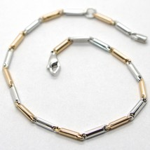 18K ROSE PINK & WHITE GOLD BRACELET TUBE ALTERNATE LINK 7.1 INCHES MADE IN ITALY image 1