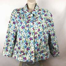 Jones New York Country Sz 12 Jacket Cropped Floral Lightweight 3/4 Sleev... - $29.87