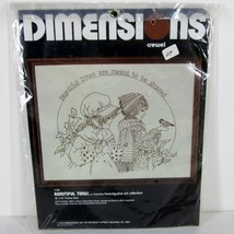 """DIMENSIONS 1136 """"BEAUTIFUL TIMES"""" CREWEL EMBROIDERY KIT 1979 USA 18"""" x 1... - $31.72"""