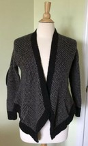 EILEEN FISHER Charcoal Yak Wool Waffle Elbow Patch Cardigan Sweater XS cropped - $28.02