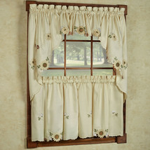 "Sunflower Cream Embroidered Kitchen Curtains 24"" Tier, Swag & Valance Set - $35.09"