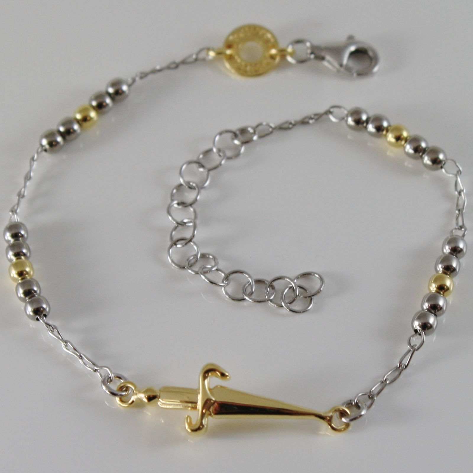 925 STERLING SILVER BRACELET BY CESARE PACIOTTI, GOLD SWORD, BALLS, 8.3 INCHES