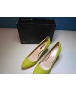 NIB INC Classic High Heel Pump Yellow Chartreuse Sueded  110 M - $32.29