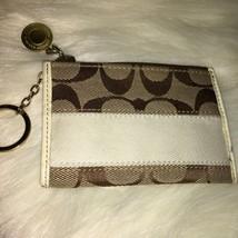 COACH Khaki/White Signature Mini Skinny Coin Purse Key Ring 40351 - $15.20