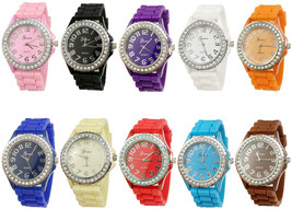 Geneva Women's 10 PCS Watches Crystal Wristwatch Set Silicone Jelly Band - $82.94
