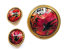 Art Deco Limoges Enamel Brooch Earrings Red Back Chinoiserie Brevers Paris - $60.00