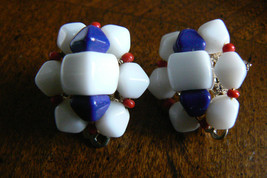 Vintage Milk White Cobalt Blue & Red Glass Cluster Clip On Earrings - $15.84