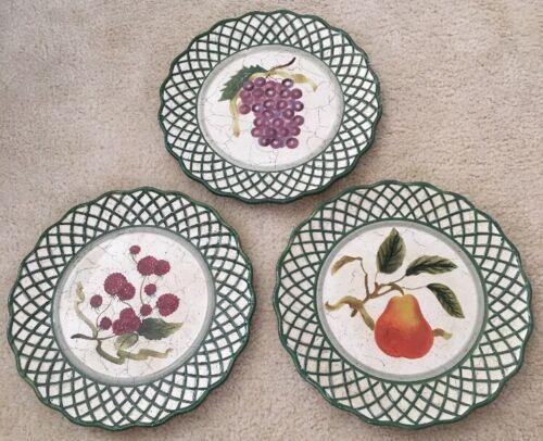 3 Raymond Waites Cornucopia Certified Intl Green Rim Fruit Dinner Dish Plates