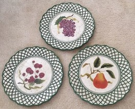 3 Raymond Waites Cornucopia Certified Intl Green Rim Fruit Dinner Dish P... - $33.65