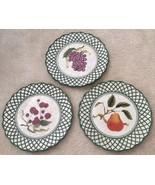 3 Raymond Waites Cornucopia Certified Intl Green Rim Fruit Dinner Dish P... - $33.65