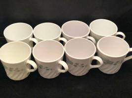 Corning No 38 Swirled White Coffee Cups Ivy Pattern (8) USA - $32.90