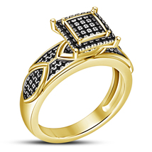 14k Yellow Gold Plated 925 Silver Round Cut Black CZ Solitaire With Acce... - $84.22