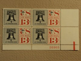 USPS Scott C62 13c Let Freedom Ring Liberty Bell 1961 Mint NH Plate Block - $7.07
