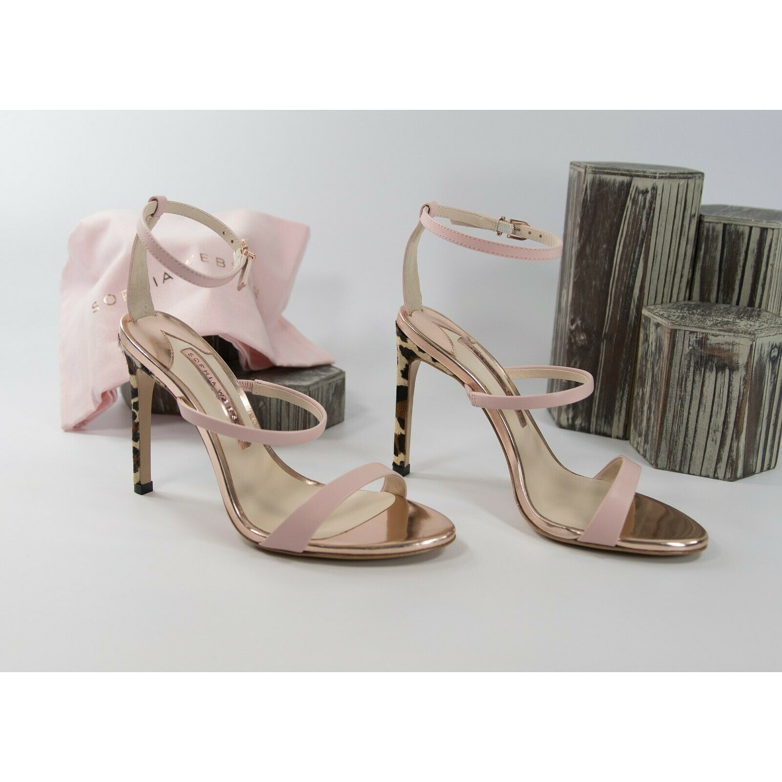 Primary image for Sophia Webster Rosalind Pink Leather Leopard Calf Hair Heels Size 39.5 9.5 NIB
