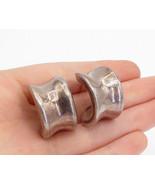 925 Sterling Silver - Vintage Dark Tone Hollow Concave J-Hoop Earrings -... - $37.50