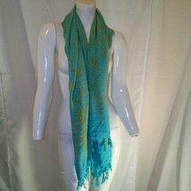 Womens Light Blue and Bronze Scarf with Tassels - $17.82