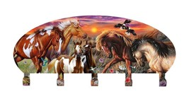 Horse Collage Coat Rack Metal Wall Art Made in USA - $52.95