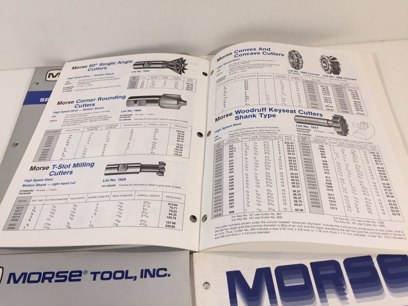 Vintage Late 1980's Morse Tool Catalogs Set of 4 Milling Cutters Taps Dies