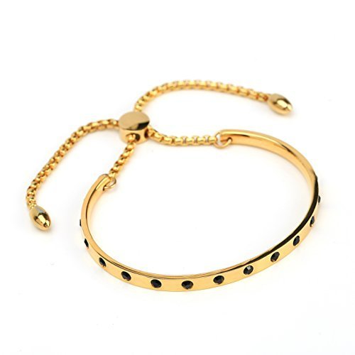 UNITED ELEGANCE Gold Tone Bolo Bracelet With Jet Black Swarovski Style Crystals