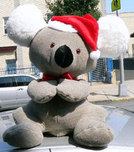 American Made Big Stuffed Koala Bear 26 Inch Soft Wears Christmas Santa Hat - $127.11