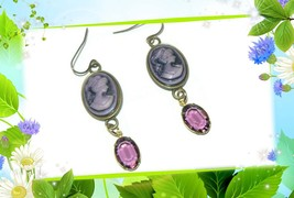 Lilac Cameo Earrings, Cameo Earrings, Gift For Her - $16.00