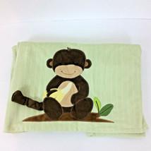 "Lambs and Ivy Baby Blanket Green Stripes Monkey Banana 39"" L x 30"" W - $12.19"