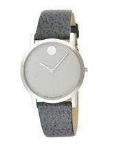 BRAND NEW MOVADO 0606037 BOLD MUSEUM GRAY LEATHER UNISEX WATCH - $494.99