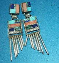 Pawn Navajo Sterling Silver Inlay Turquoise Spiny Oyster Dangle Earrings... - $185.00