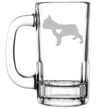 12oz Beer Mug Stein Glass Cute French Bulldog With Heart - $12.86