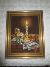 "Wood Framed FLAMING CANDLE, WINE, BOOKS NEEDLEPOINT Still Life - 15 1/4""... - £11.45 GBP"