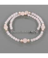 Designer Necklace - Rose Quartz & Pearl Smooth Round Beads in 925 Silver... - $48.99