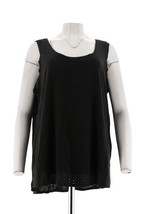 Women with Control Controlways Perforated Faux Suede Tank Black M NEW A279579 - $29.68