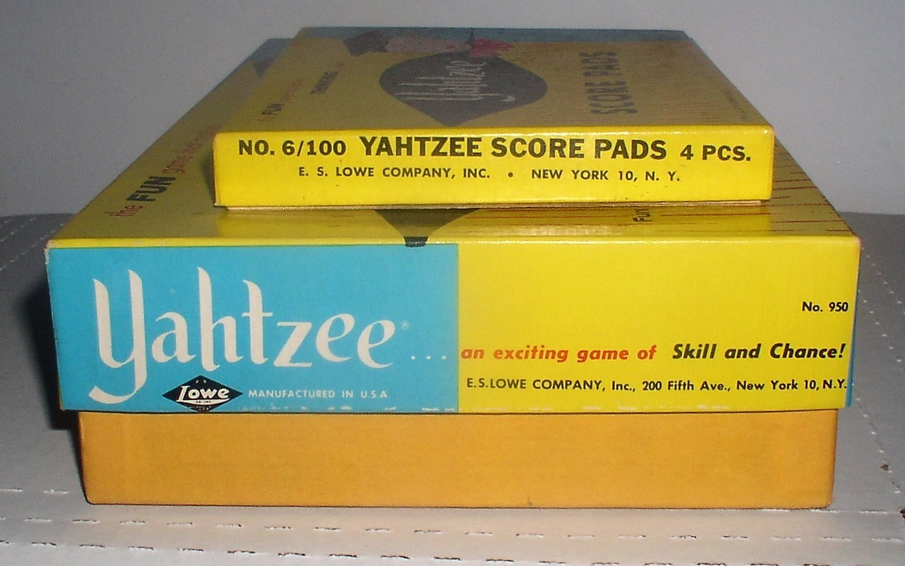 1961 Yahtzee E.S. Lowe Dice Game #950 & Extra Score Pads No. 6/100