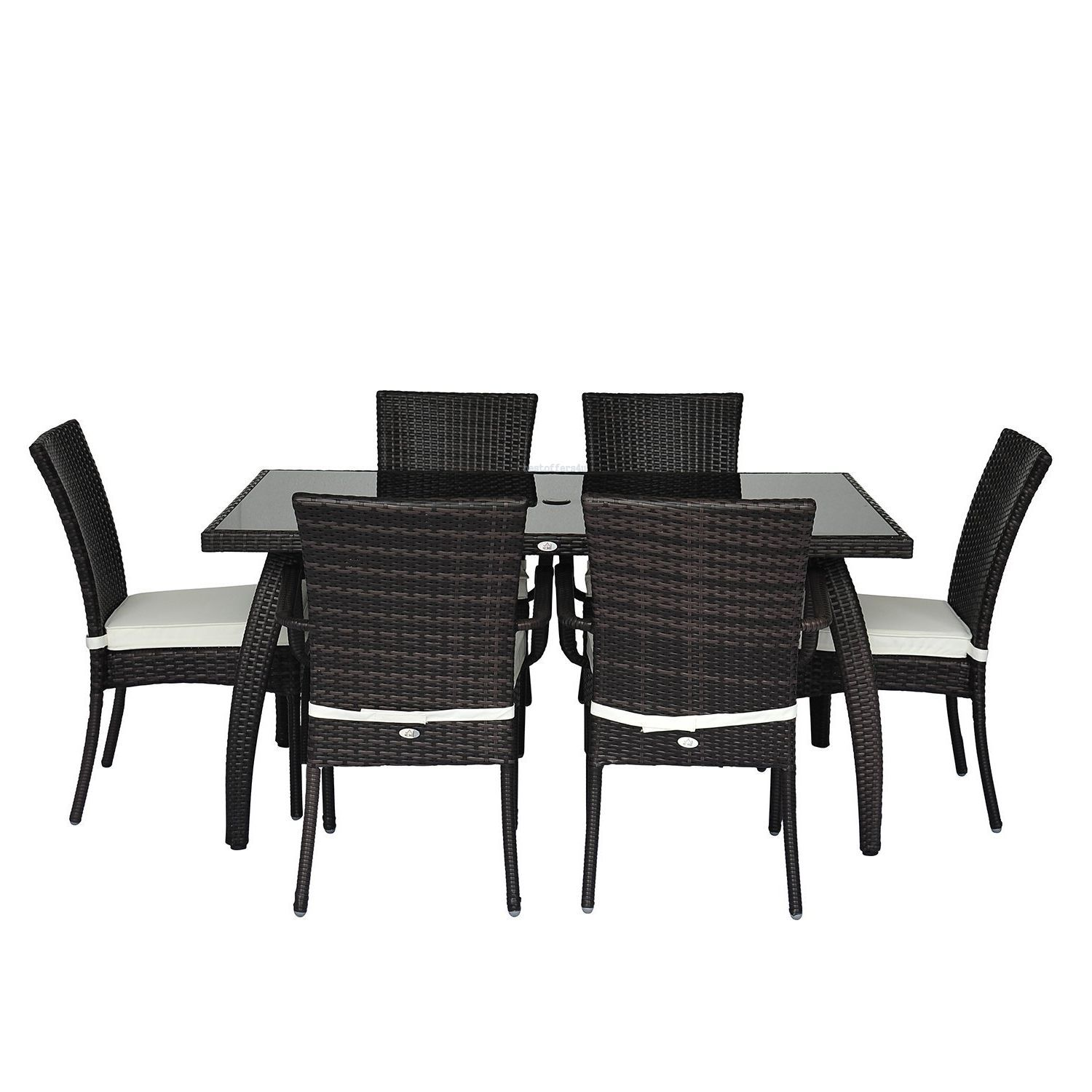 Rattan Garden Dining Set 7pcs Luxury Patio Furniture Rectangular Table 6 Chairs image 3