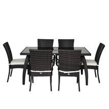Rattan Garden Dining Set 7pcs Luxury Patio Furniture Rectangular Table 6 Chairs image 3