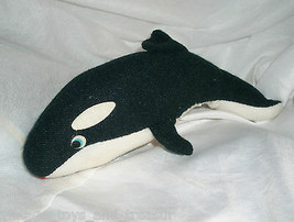 "8"" VINTAGE BLACK SEA WORLD SHAMU KILLER WHALE ORCA STUFFED ANIMAL PLUSH TOY - $14.03"