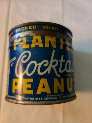 VINTAGE 1938 PLANTERS MR. PEANUT COCKTAIL PEANUTS ADVERTISING EMPTY 8 OZ CAN