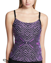 Calvin Klein Artemis Printed Tankini Top Women's Swimsuit (Purple, XS) - $119.50 CAD