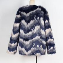 Women's Multicolor Luxury Designer Brand Fashion Faux Fur Coat image 6